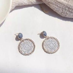 Gray Lace Hoop Earrings